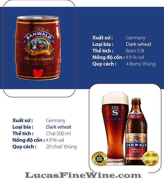 BIA NHẬP - Bia Đức Sanwald Weizen Dunkel 500ml - 2