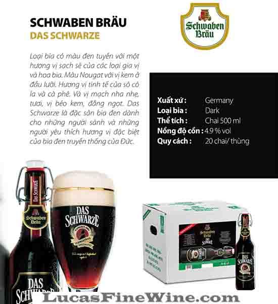 BIA NHẬP - Bia Đức Schwaben Brau Das Schwarze 500ml - 2