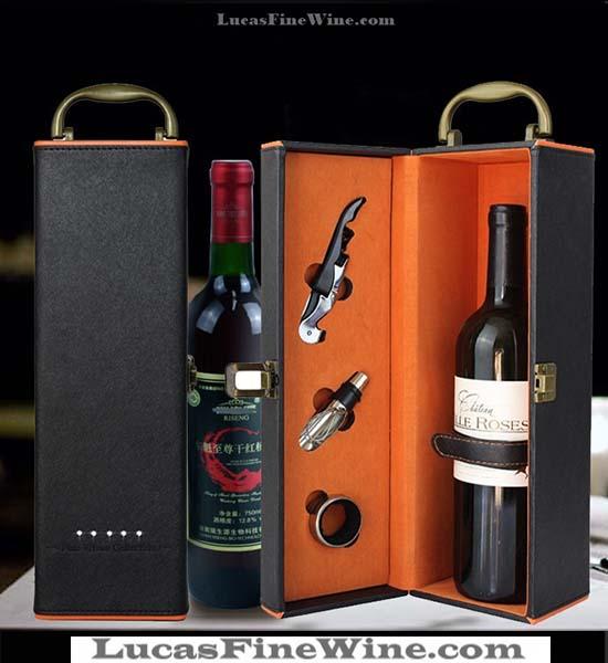 SET hộp da đính hạt 01 chai vang A Đỏ - Collefrisio A