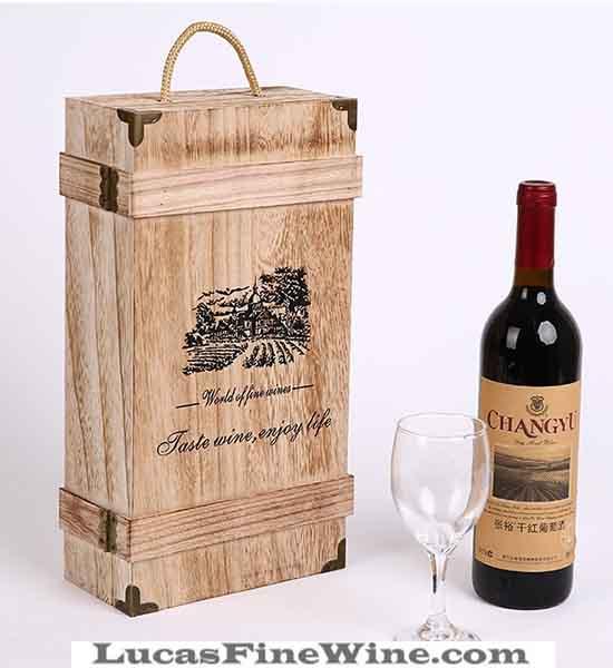 Rượu vang - HỘP RƯỢU VANG bằng gỗ 02 chai - 2
